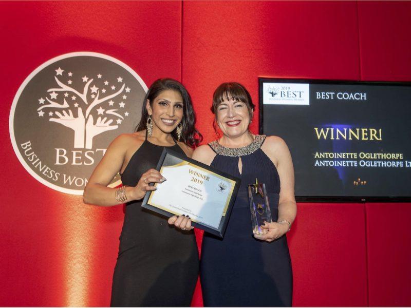 Antoinette Oglethorpe wins Best Coach at the Best Business Women Awards 2019.