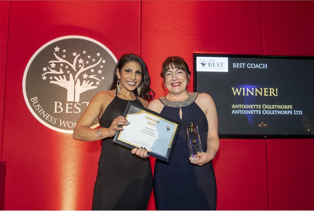 Antoinette Oglethorpe wins Best Coach at the Best Business Women Awards 2019.