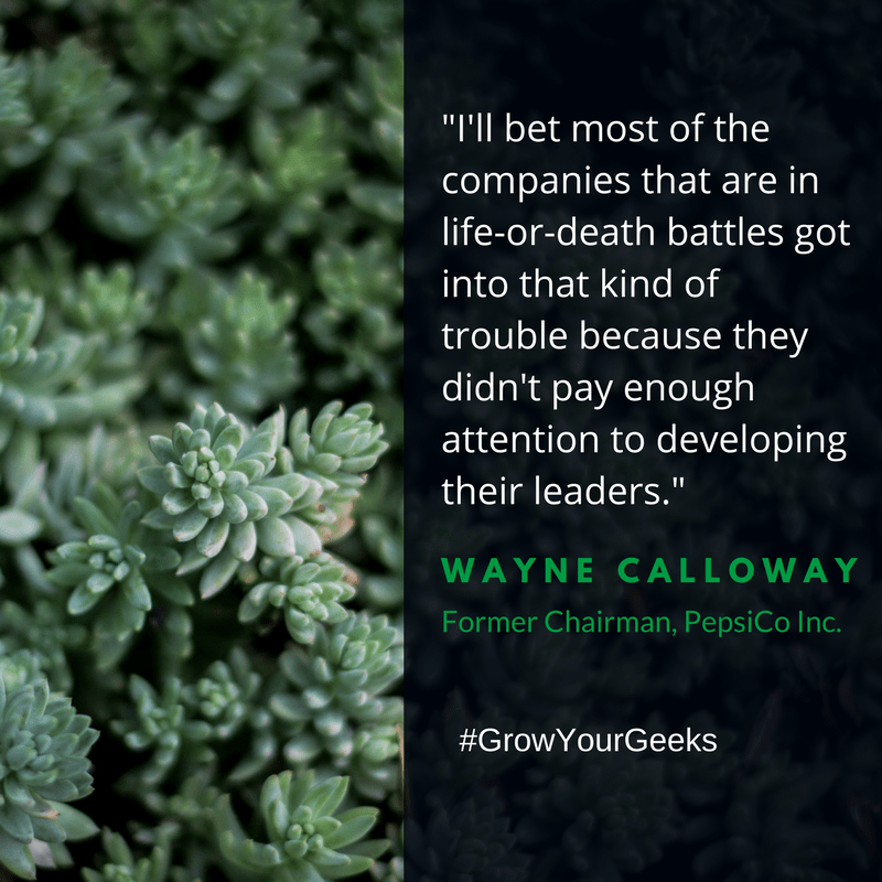 """""""I'll bet most of the companies that are in life-or-death battles got into that kind of trouble because they didn't pay enough attention to developing their leaders."""" - Wayne Calloway"""