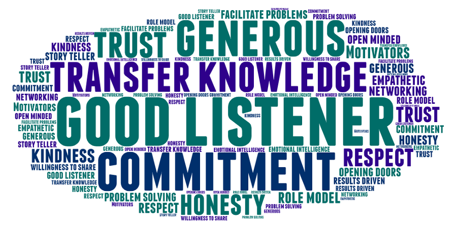 7 characteristics that make a good mentor word cloud