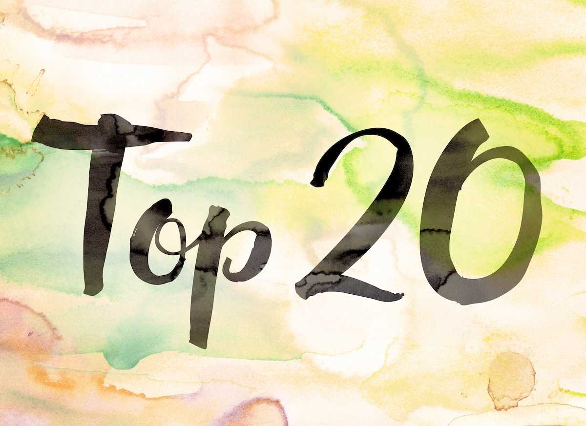 "top 20 blogs of 2020. The words ""Top 20"" written in black paint on a colorful watercolor washed background."