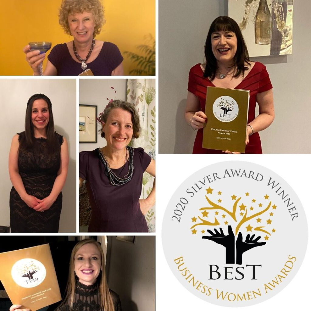 Best Business Womens Awards 2020 finalists and silver award winners. Team AO with their brochures