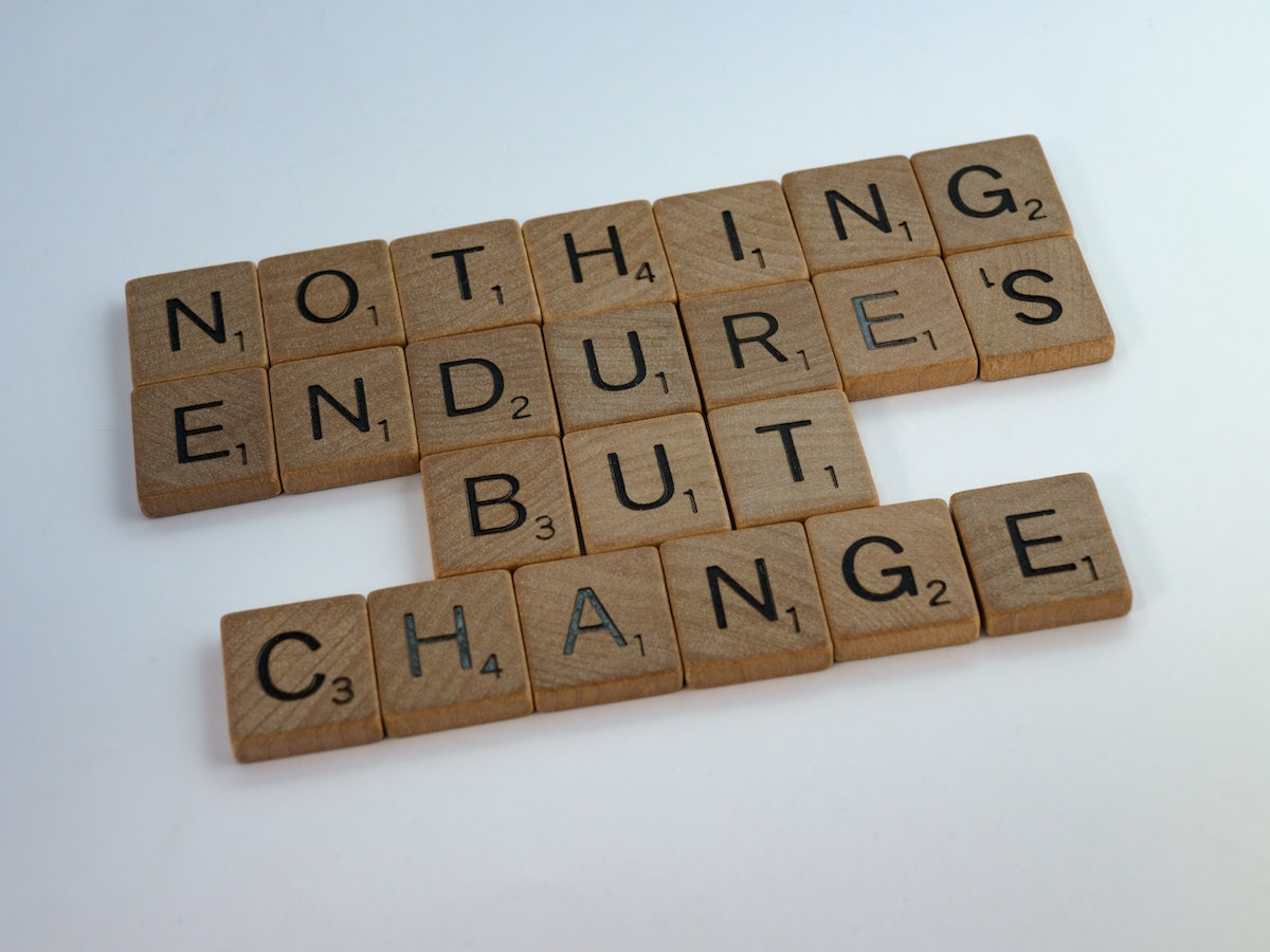"""""""nothing endures but change"""" on scrabble tiles - adaptability future proof your career"""