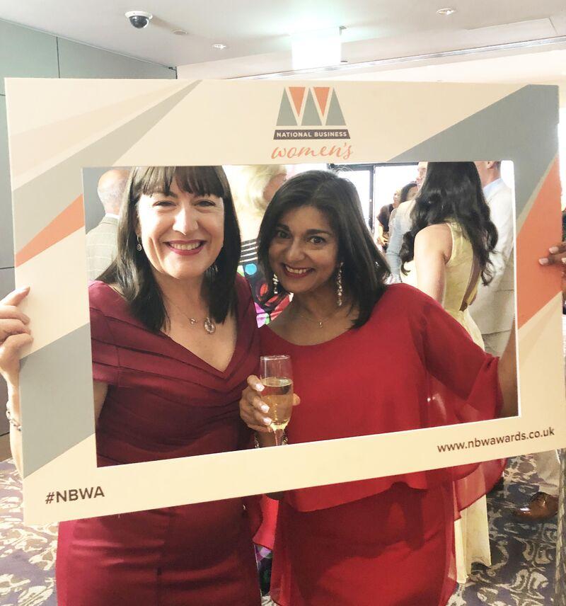 Antoinette Oglethorpe and Sapna Pieroux in photo frame with #nwba