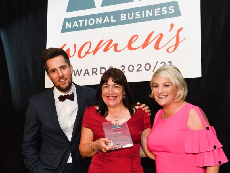 Antoinette Oglethorpe accepting the Silver Award for Service Excellence at the National Business Women's Awards