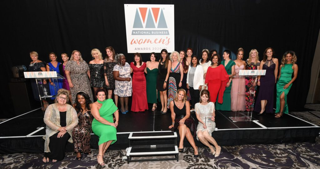 National Business Women's Awards Finalists and Winners stood on stage